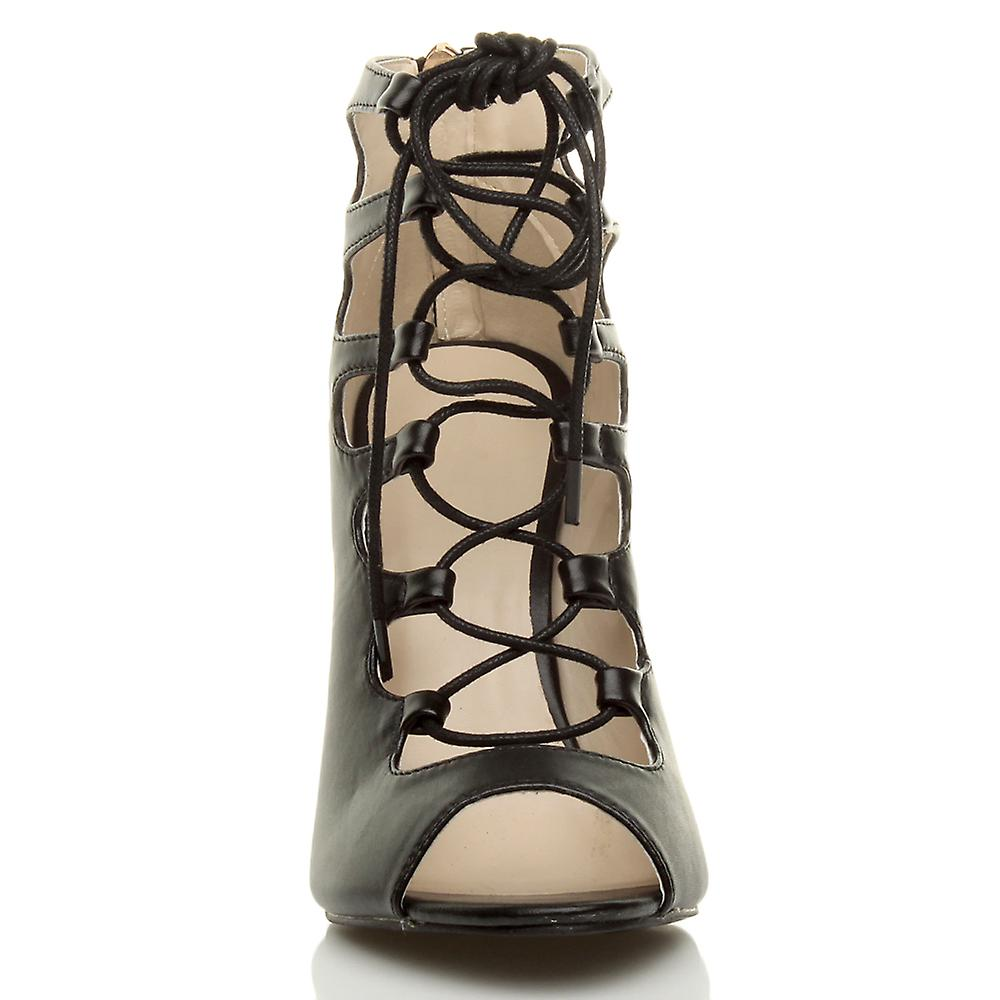 Ajvani womens high heel lace up gladiator cut out caged ankle sandals shoes hENkV