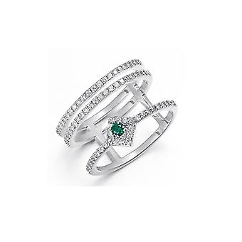 Women's ring adorned with Crystal by Swarovski White and Green and Plated Rhodium 4586
