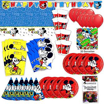 Mickey Mouse retro set XL 73-teilig for 6 guests Disney party birthday decoration party package