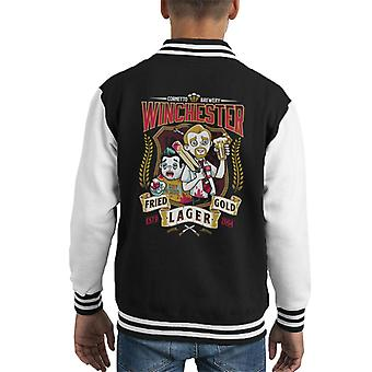 Shaun Of The Dead Winchester Fried Gold Lager Kid's Varsity Jacket