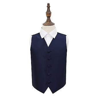 Navy Blue Solid Check Wedding Waistcoat for Boys