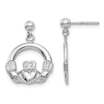 14K White Gold Solid Polished Claddagh Earrings