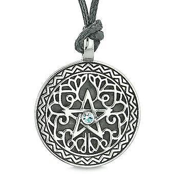 Amulett Pentagramm magische Sterne keltische Verteidigung Befugnisse Pentagramm himmelblau Kristall Anhänger Halskette