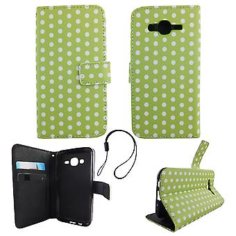 Mobile phone case pochette pour mobile Samsung Galaxy J5 2015 pois vert blanc