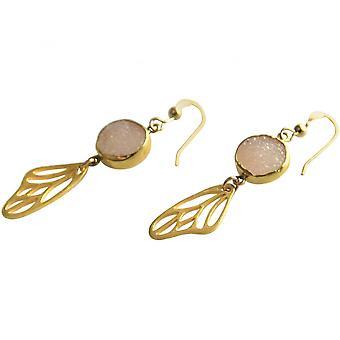 Ladies - orecchini - butterfly - wings - Ali - argento 925 - placcato oro - DRUZY - quarzo rosa - 5cm