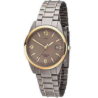 JOBO men's wristwatch quartz analog titanium bicolor gold plated men's watch with date