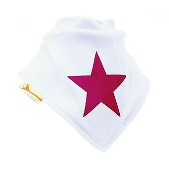 White & pink big star bandana bib