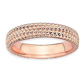 925 sterling sølv teksturert polert mønstret stables uttrykk rosa belagt ring smykker gaver til kvinner - ring Si