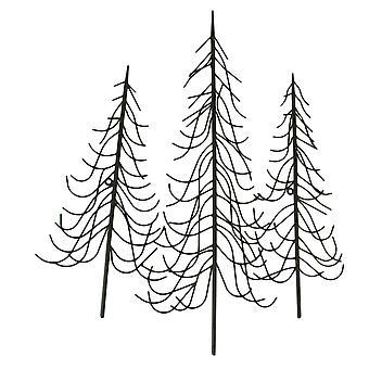 Suspensão de parede de Metal inverno marrom rústico árvores