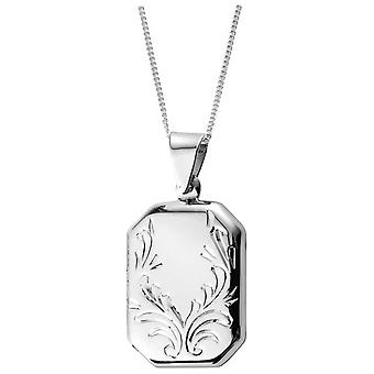 Orton West Engraved Patterned Locket - Silver