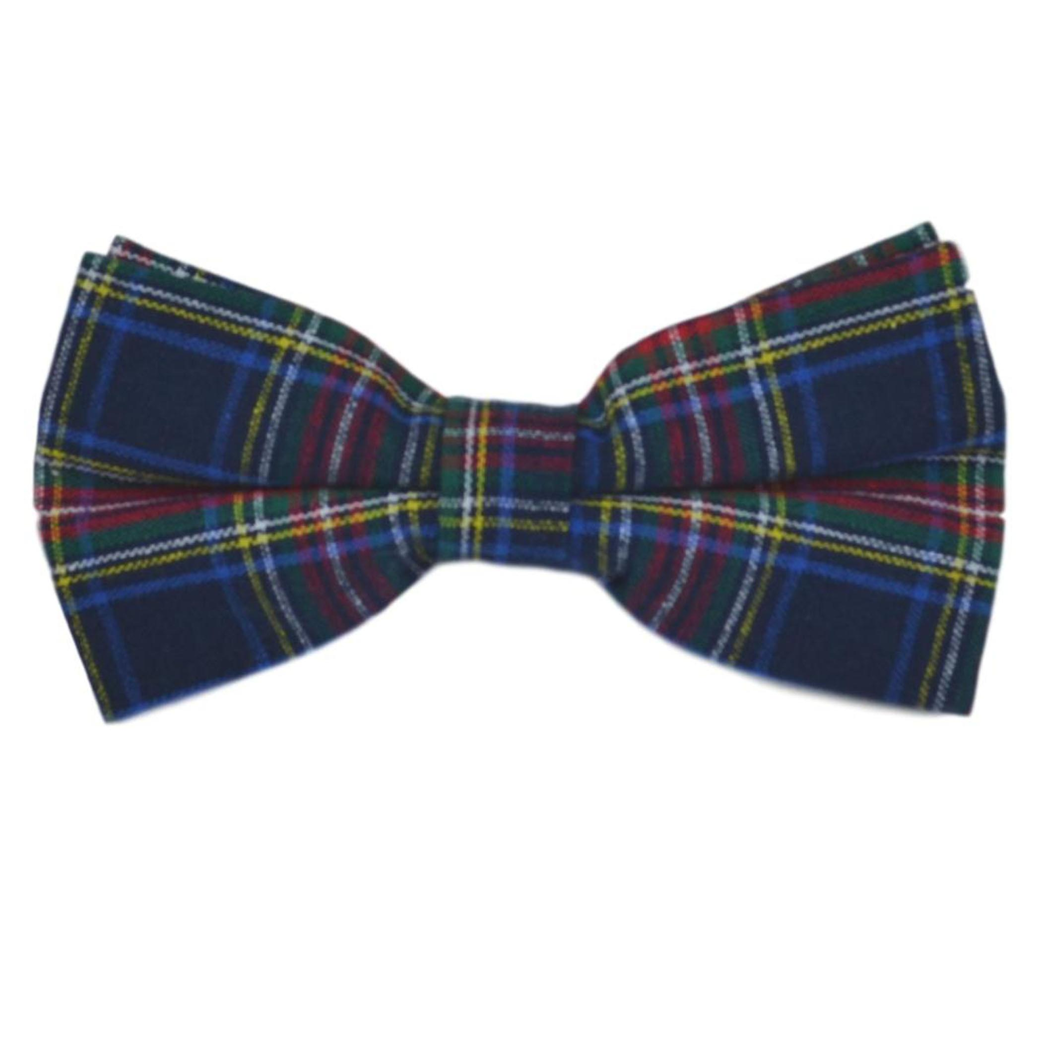 Traditional Navy Blue Tartan Bow Tie & Pocket Square Set, Check, Plaid