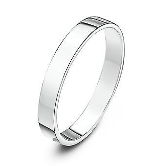 Star Wedding Rings 9ct White Gold Heavy Flat Shape 3mm Wedding Ring