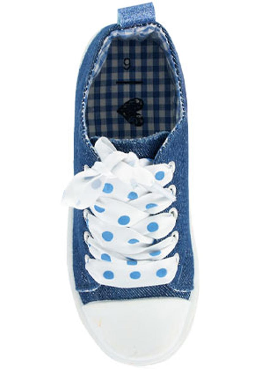 Girls blue sparkly denim trainers with poka dot ribbon trainers