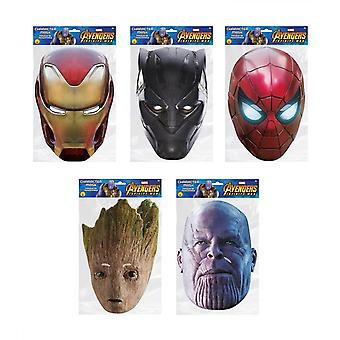 Avengers Infinity War 2D Card Party Face Mask Variety 5 Pack