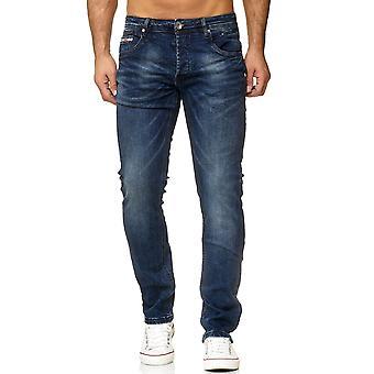 Jeans pantalon Denim hommes coupe régulière classique utilisé lavé sculptante pantalon