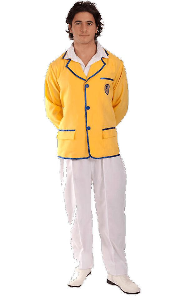 Mens 80s Yellow Coat Holiday Rep Happy Camper Lady Fancy Dress Costume