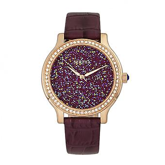 Bertha Cora Crystal-Encrusted Leather-Band Watch - Plum