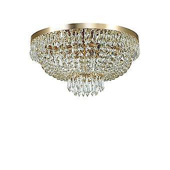 Ideale Lux - Caesar gouden afwerking zes lichte Flush montage met kristallen IDL114682