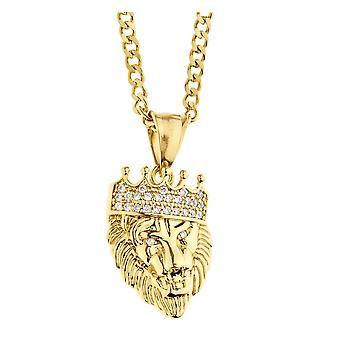 Iced Out Edelstahl Anhänger Kette - Mini LION KING gold