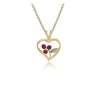 Floral Round Ruby Pendant Necklace in Gold Plated 925 Sterling Silver 253P231301925