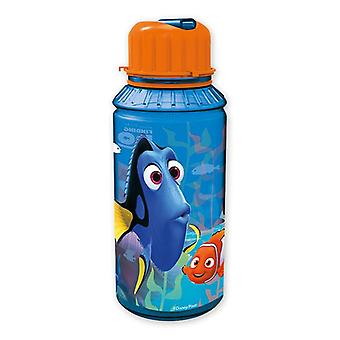 Finding Dory Trinkflasche Dorie und Freunde blau, bedruckt, aus Kunststoff, mit integriertem Strohhalm.