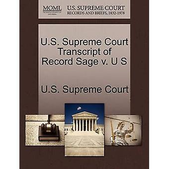 US Supreme Court Transcript of Rekord Sage v. U S US Supreme Court