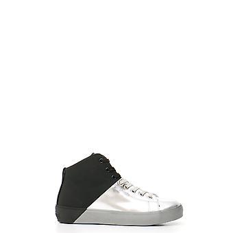 Cuir Crown Ezbc1111009 Women-apos;s Silver Leather Hi Top Sneakers