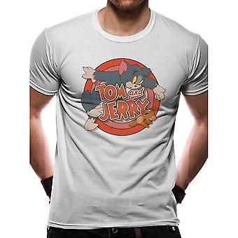 Άνδρες ' s Τομ και Τζέρυ ρετρό τηλεόραση λογότυπο λευκό T-shirt