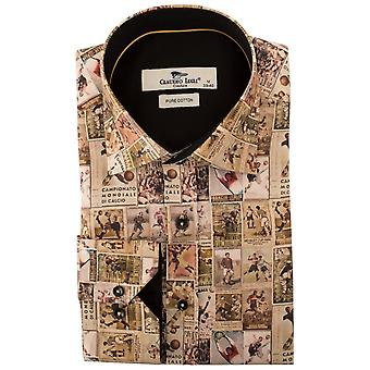 Клаудио Lugli Vintage футболистов печати Мужская рубашка
