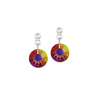 Eternal Collection Solar Volcano Austrian Crystal Silver Tone Drop Pierced Earrings