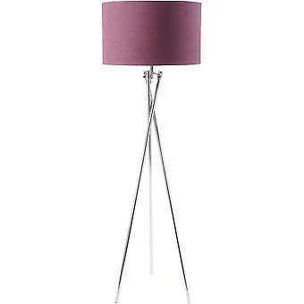 Libra möbler nickel twist stativ golv lampa med Burgundy Shade