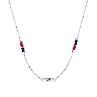 Cincinnati Reds Sterling Silver Graverad Triple Station Halsband i rött och blått