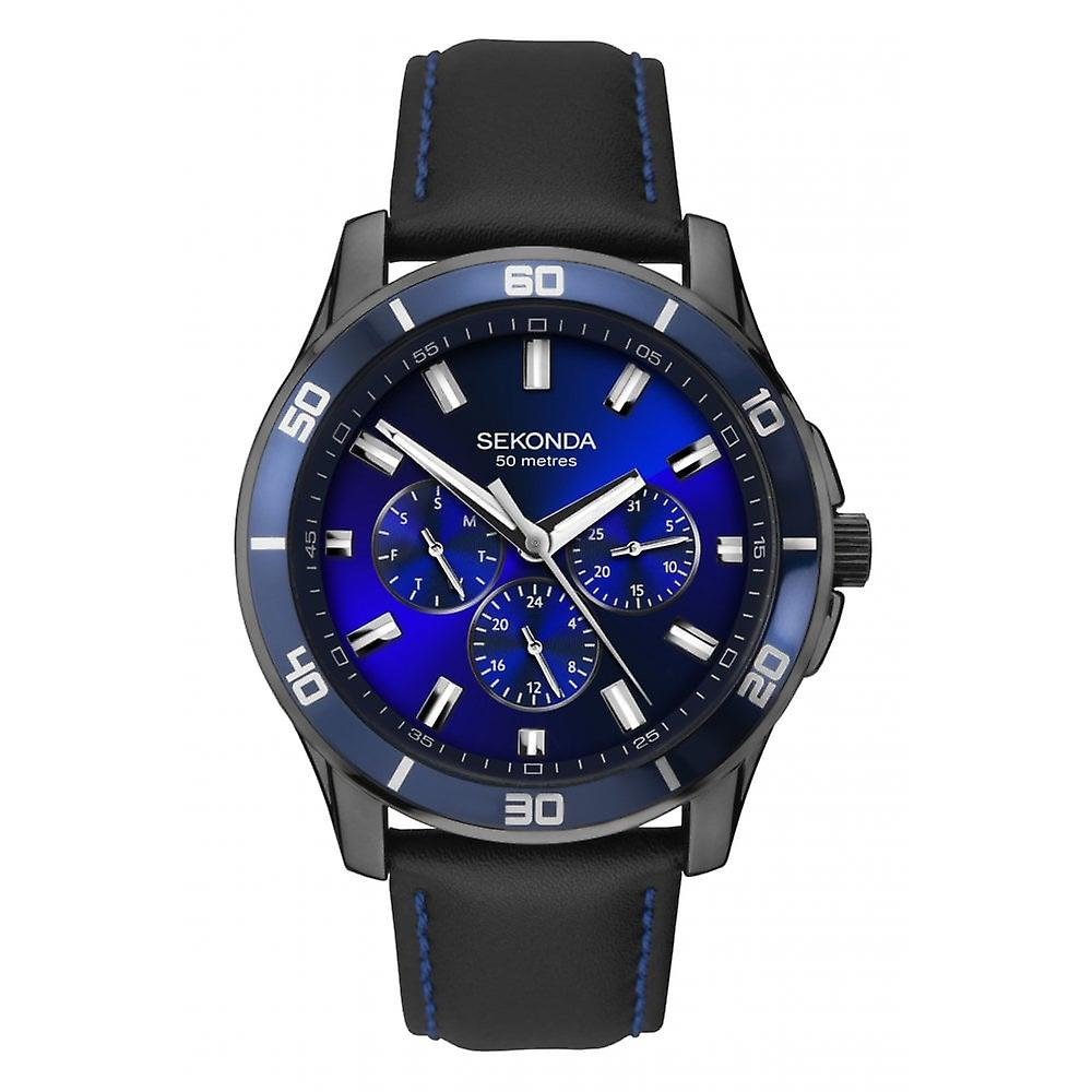 Sekonda Mens 'Midnight Blue' Round Blue Multi Dial Black/Blue Leather Strap Watch