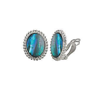 Éternelle Collection marée bleue Paua Shell fermoir Cabochon Stud Clip boucles d'oreilles