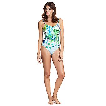 Féraud 3195302-16526 Women's Voyage Sealeaves Blue Costume One Piece Swimsuit