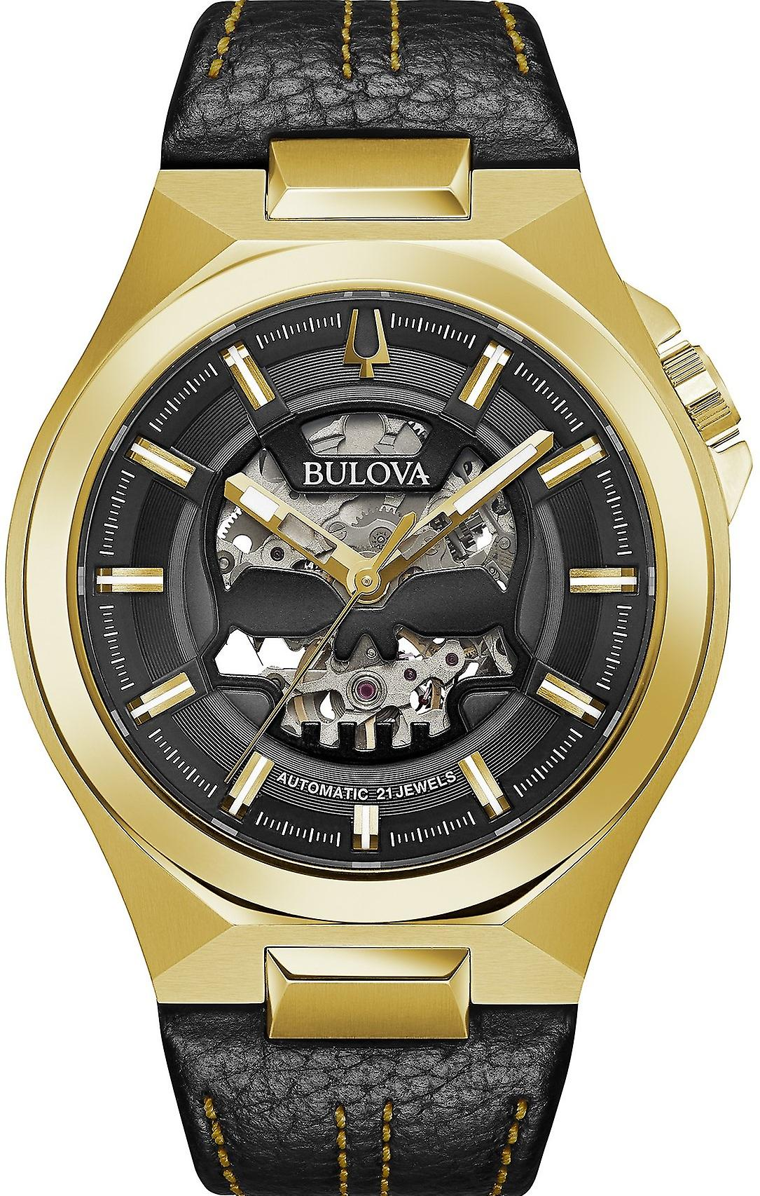Bulova Maquina Classic Gold PVD Black Leather Skull Skeleton Dial Automatic Mens Watch 97A148