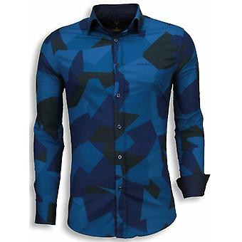 E Shirts - Slim Fit - Modern Army Pattern - Blue