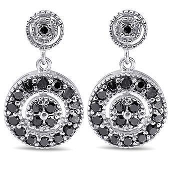 1/2ct musta timantti Pave naisten korva korut 10K valkoinen kulta