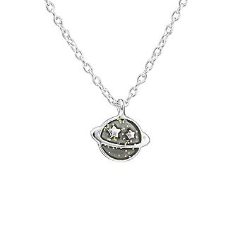 Saturn Planet - 925 Sterling Hopea kaulakorut - W39179x