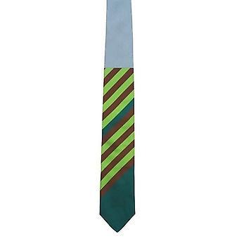 Gene Meyer Stripe Slash Tie - Dark Brown/Multi-colour