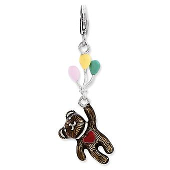 925 Sterling Silver Rhodium plated Fancy Lobster Closure Enameled 3 d Bear Holding Balloons With Lobster Clasp Charm Pen