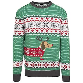 Urban Classics Men's Sweater Sausage Dog Christmas