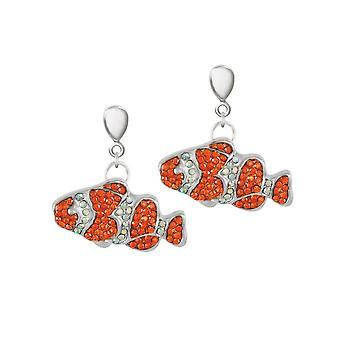 Eternal Collection Clown Fish Orange Crystal Silver Tone Drop Screw Back Clip On Earrings