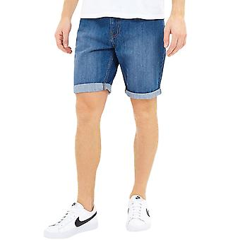 Brave Soul Mens Uganda Mid Casual Buttoned Denim Shorts Bottoms - Mid Blue