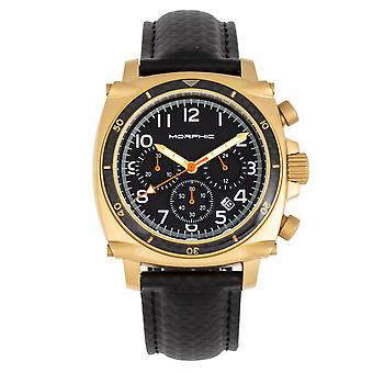 Morphic M83 Series Chronograph Leather-Band Watch w/ Date - Gold/Black