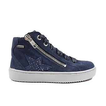 Superfit 06499-80 Navy Blue Suede Leather Girls Hi Top Lace/Zip Up Boots