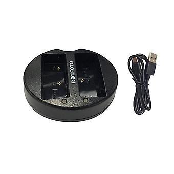 Dot. Foto BLH-1 rask Dual USB batterilader for Olympus [se beskrivelse for kompatibilitet]