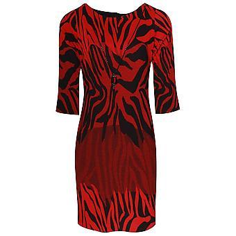 Frank Lyman Long Sleeve Red Animal Print Shift Dress