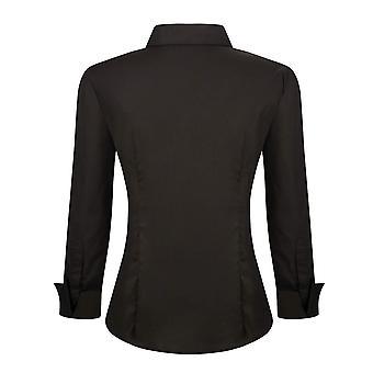 Alex Vando Womens Dress Shirts Regular Fit Long Sleeve, Black, Size Medium
