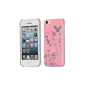 Hull For iPhone 5c Pattern Butterflies And Flowers Pink Background